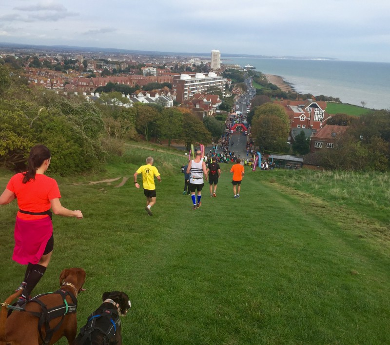 The downhill section at the end of the Beachy Head Marathon, Eastbourne